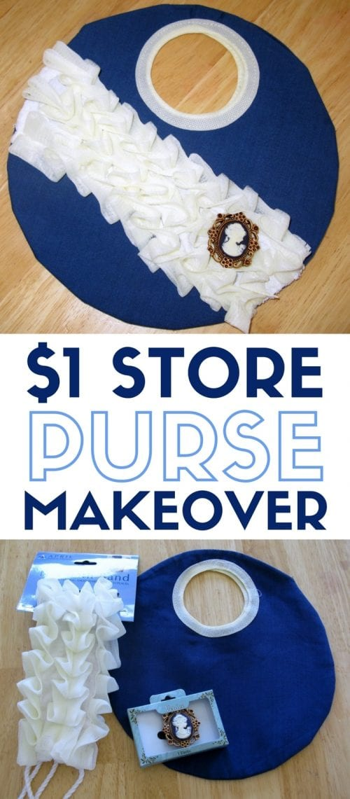 a circle purse makeover made with a shower scrub and brooch pin