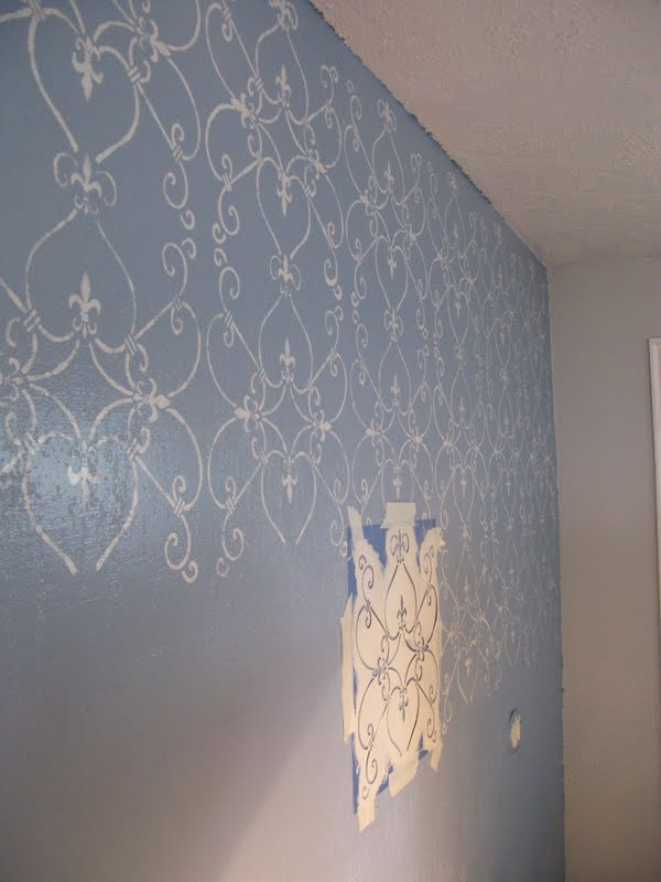 Add beautiful DIY home decor with a painted stencil wall. Paint in any color to match your home's personal style and decore.