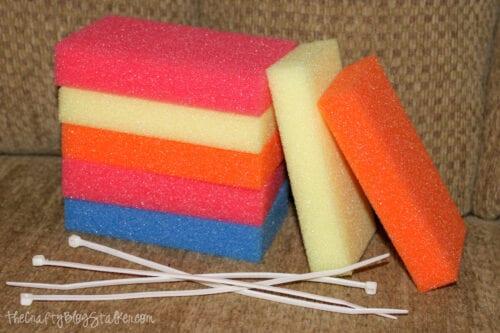 stack of sponges and zip ties