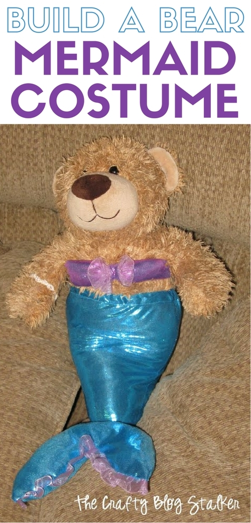 Sew a mermaid costume for your favorite stuffed bear. Follow this easy pattern and instructions and your build a bear will be swimming in no time. A simple DIY craft tutorial idea.