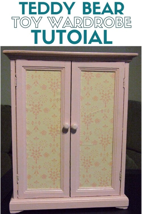 a refinished toy wardrobe that holds teddy bear clothes