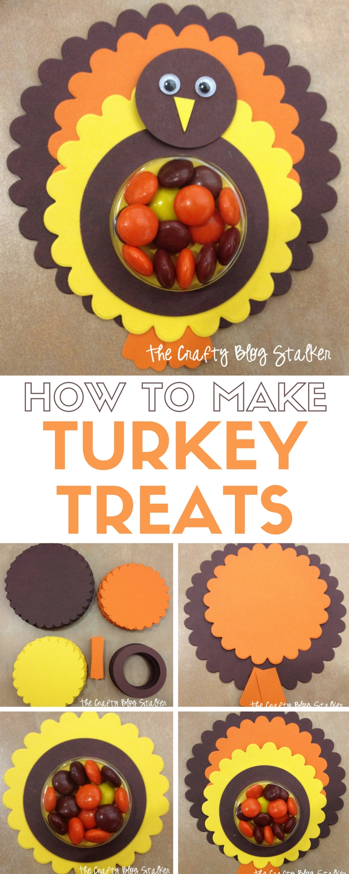 Make these Turkey Treats for friends and family. An easy DIY craft tutorial idea for Thanksgiving dinner, or a fun kids craft to keep the kids busy.