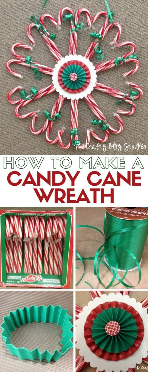 25 Easy Dollar Store Craft Ideas for Adults featured by top US craft blog, The Crafty Blog Stalker: candy cane wreath