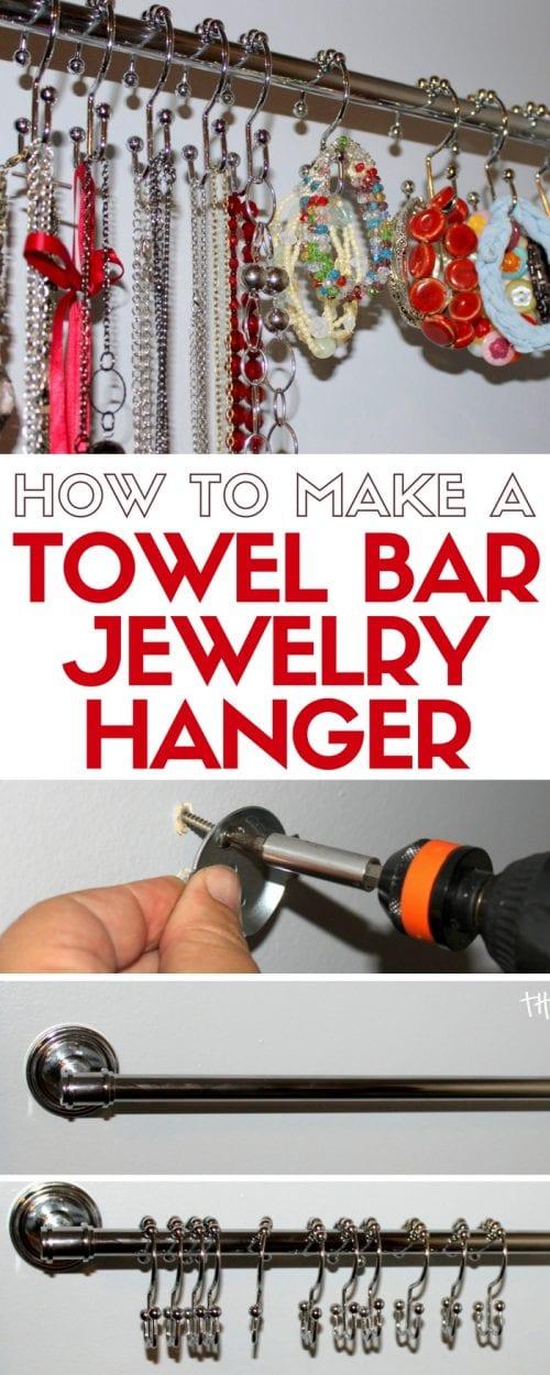 Towel Bar Jewelry Hanger | Handmade Organization | home decor | Closet Wall Hanging | Easy DIY Craft Tutorial Idea
