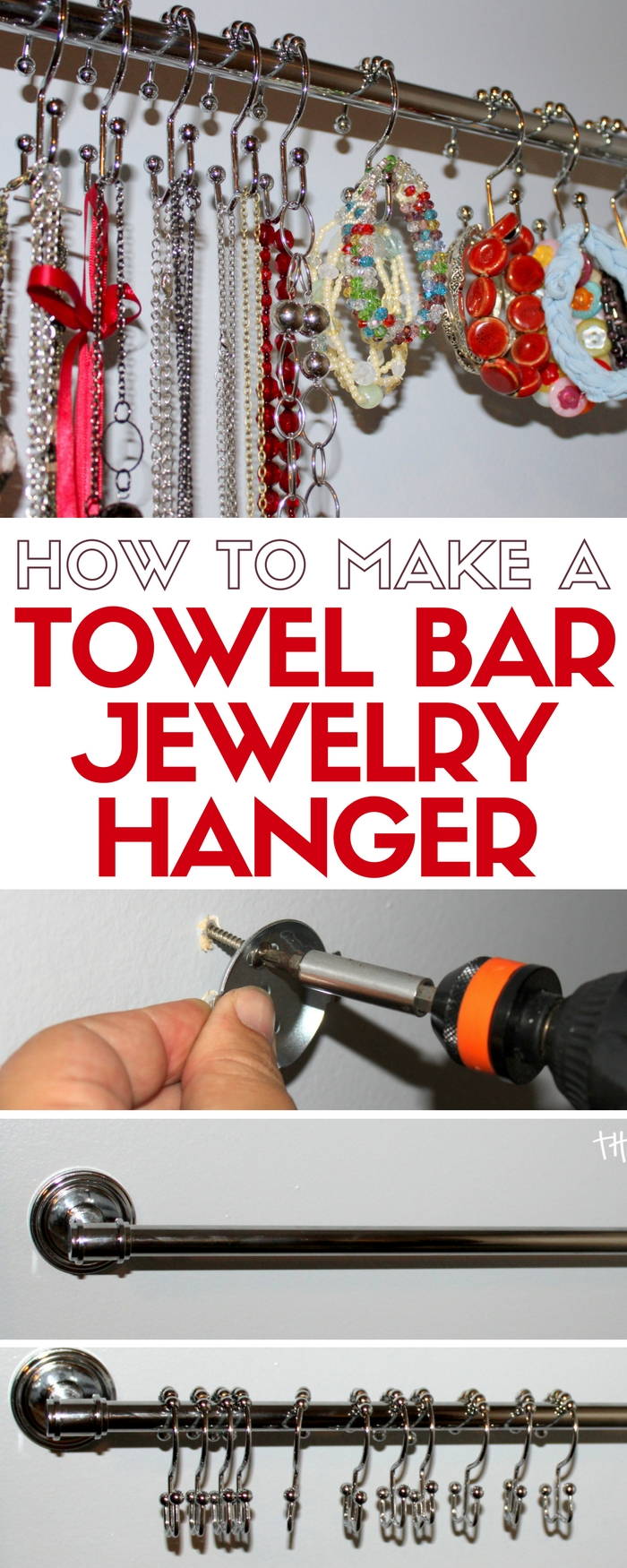 Organize your jewelry on a towel bar and shower hooks. Necklaces are tangle free and you can easily find your favorites. An easy DIY craft tutorial idea.
