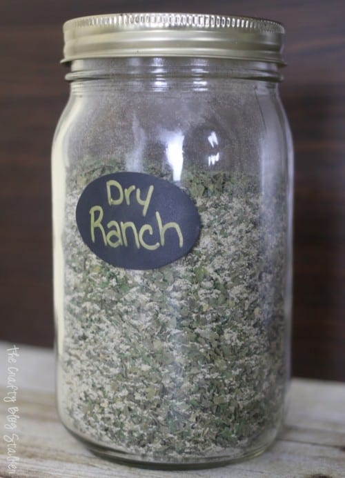 a mason jar with dry Ranch mix