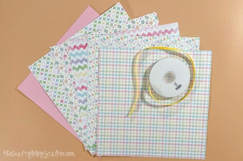 patterned paper and yellow ribbon to make banner