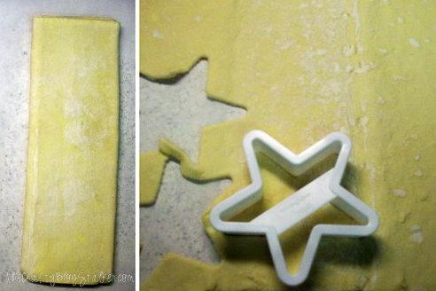 cutting puff pastry sheets with star cookie cutters