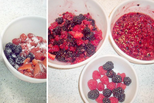 mixed berries being mushed