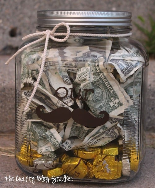 How to Make a Vinyl Stache Jar Wedding Gift Idea featured by top US craft blog, The Crafty Blog Stalker
