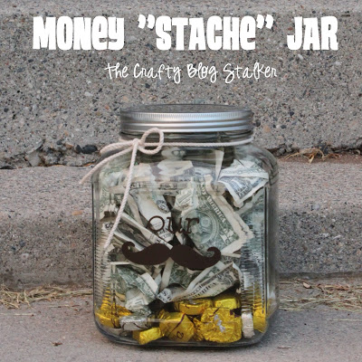 Need a fun wedding gift? How about a Money Stache Jar. Can be used as a money jar, cookie jar, or candy jar. Fun idea!