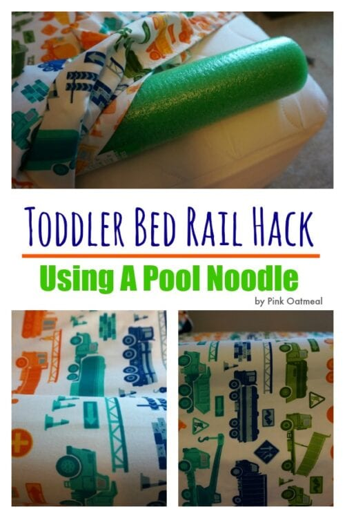 image of how to use a pool noodle as a Toddler Bed Rail Hack