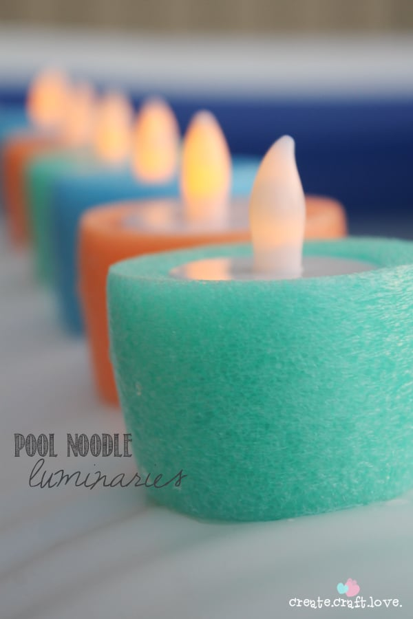 image of electronic votive candles in Pool Noodle Luminaries