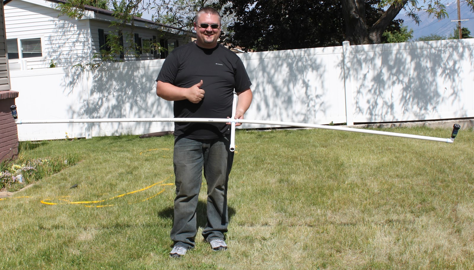 Make a simple and inexpensive DIY Sprinkler made from PVC Pipe. Water your lawn in half the time without a sprinkler system. Enjoy your green lawn.