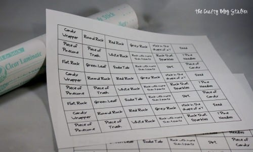 image of printed sheet of items to find for scavenger hunt
