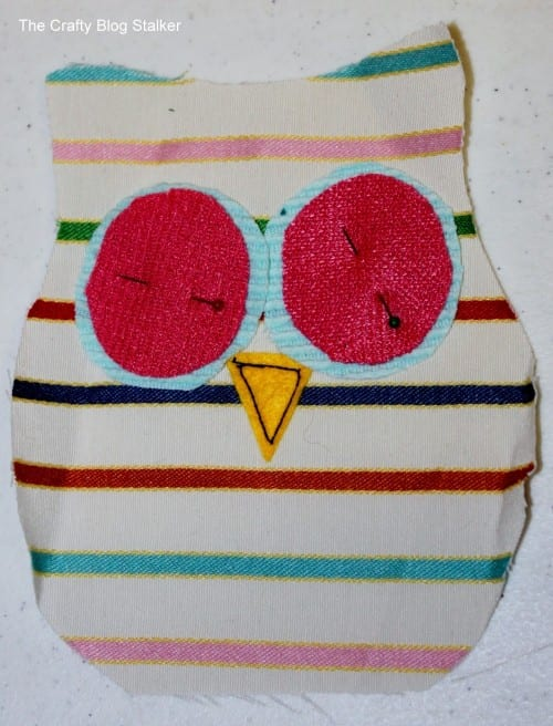 image of preparing pieces to sew together to make owl rice bag warmers