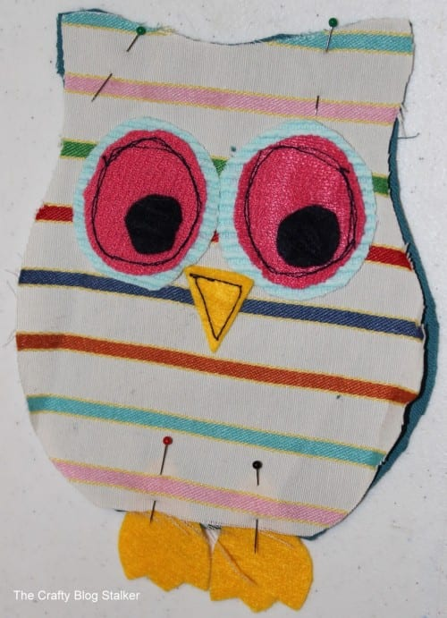 image of preparing pieces to sew together to make an owl stuffie