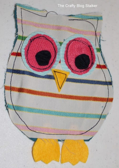 image of outline stitch on rice bag owl