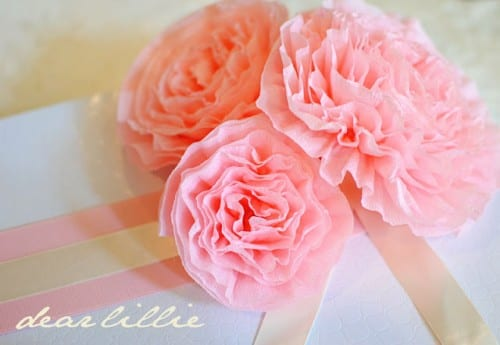 20 Beautiful Paper Flower Tutorials featured by top US craft blog, The Crafty Blog Stalker: pink crepe paper peonies paper flower bouquet