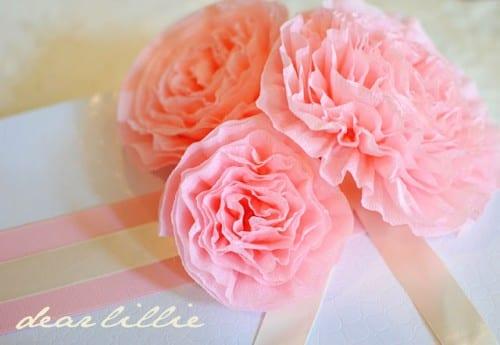 pink crepe paper peonies paper flower bouquet
