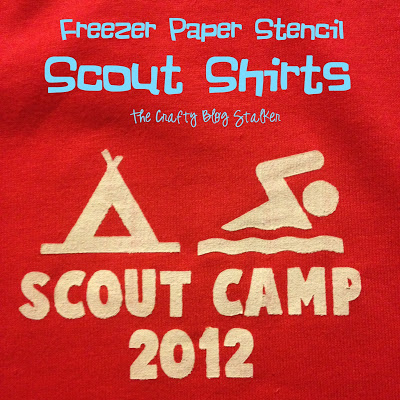 Save money for your scout troop, make your own Scout Shirts for Scout Camp with fabric paint and Freezer Paper Stencils. A simple DIY craft tutorial idea.