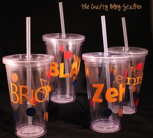 image of 4 Personalized Plastic Cups with Straws for New Teacher Gifts