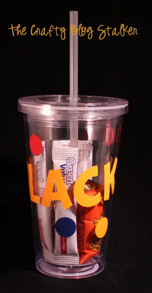 a teacher gift made from a straw cup with personalized vinyl