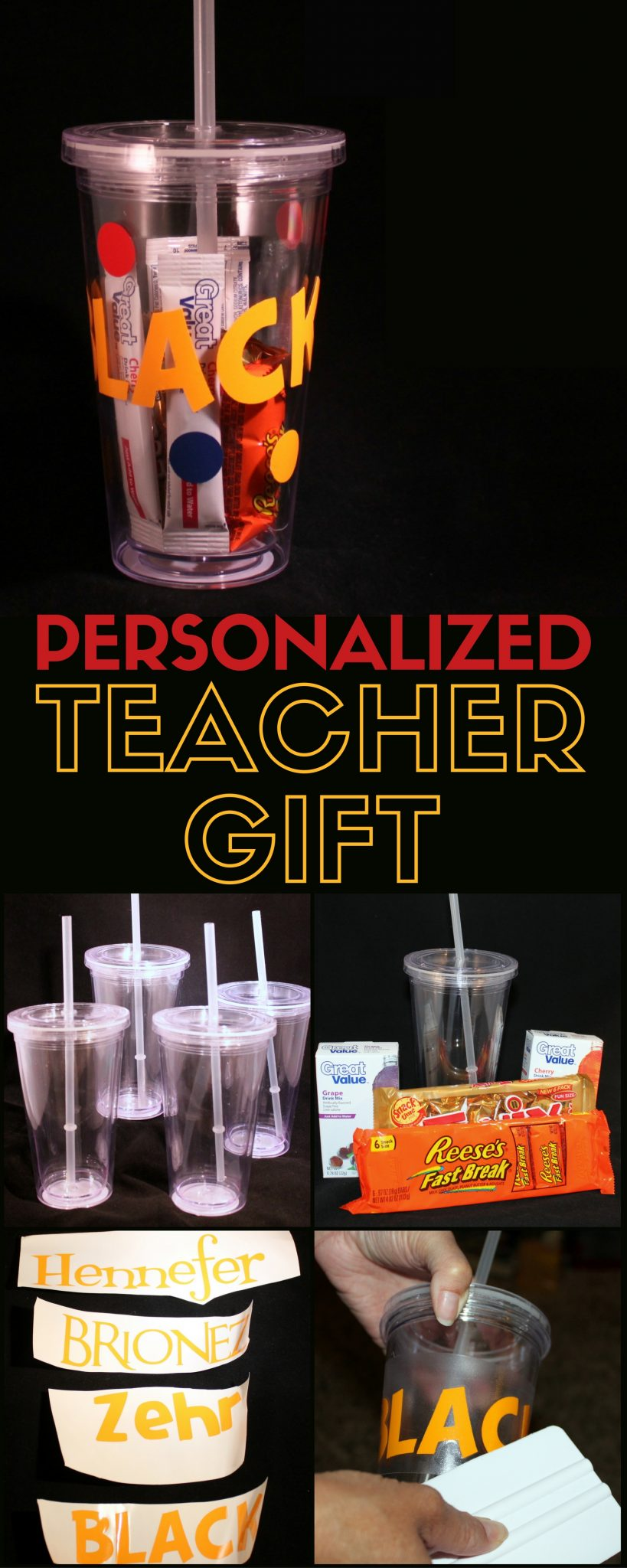 personalized name cups are the perfect teacher gifts for a new teacher a simple diy
