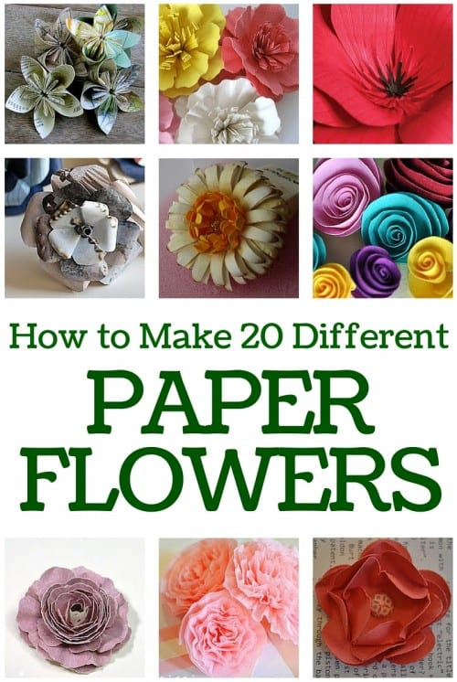 title image for the roundup post how to make 20 different paper flowers