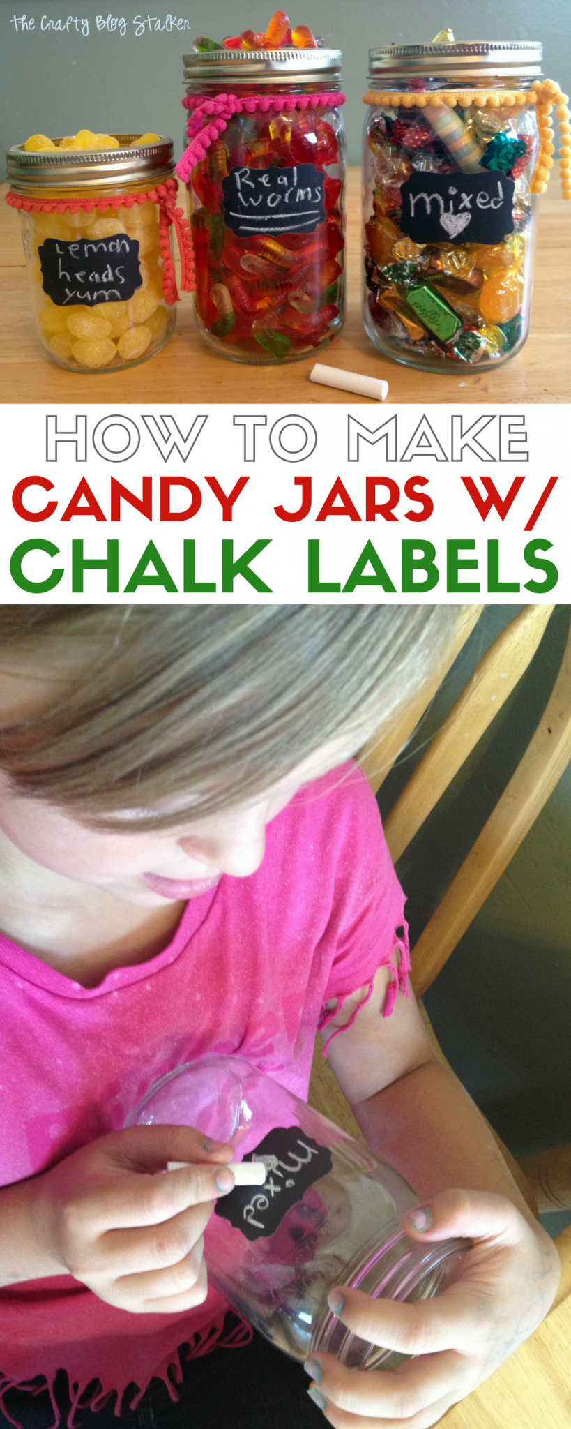 Turn a glass Mason Jar into a candy jar with a Chalkboard label. A simple DIY craft tutorial idea perfect for parties and table centerpieces.