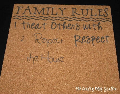 Turn your family rules into home decor. A simple DIY craft tutorial idea, a family rules board is a great reminder that looks great on the wall!
