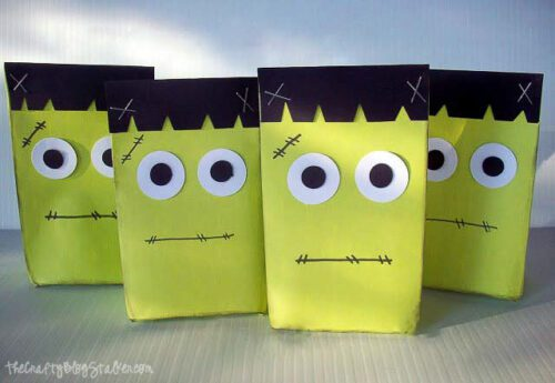 4 frankenstein goodie bags in a row