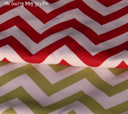 red and green chevron fabric used to make an easy christmas tree skirt