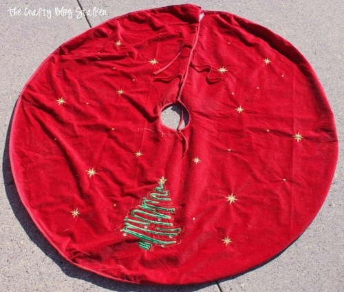 a used red velvet tree skirt