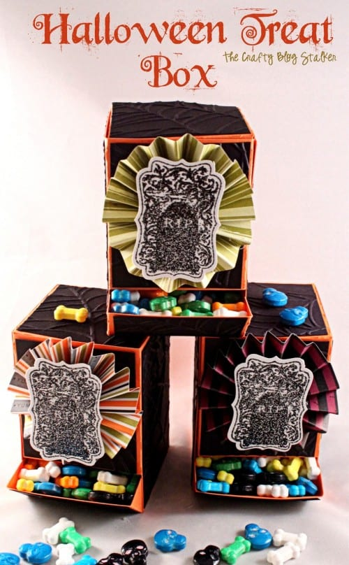 How to Make Halloween Treat Boxes | Candy Dispenser Box | Kelleigh Ratzlaff | Paper Crafts | Handmade Gift | Skeleton Candy | Stamping | Embossing | Cricut