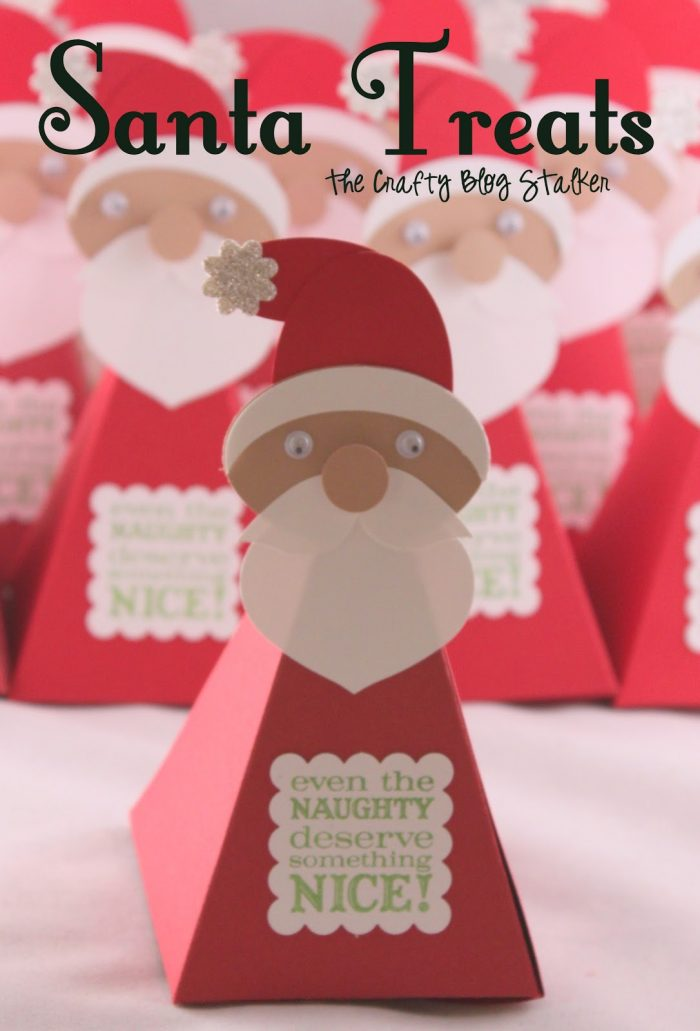 How to make cute Santa Treat Boxes filled with Christmas Candy for a fun holiday gift! Easy DIY paper craft tutorial idea for teacher and neighbor gifts.