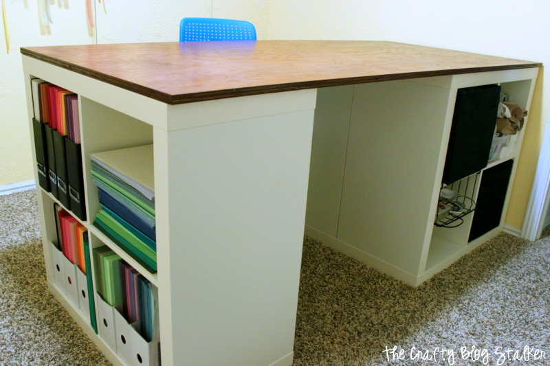 How to make a custom craft table the crafty blog stalker for Small craft table with storage