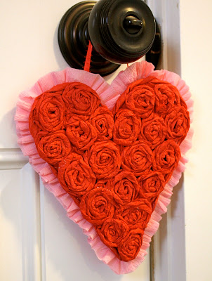 Crepe Paper Hanging Hearts