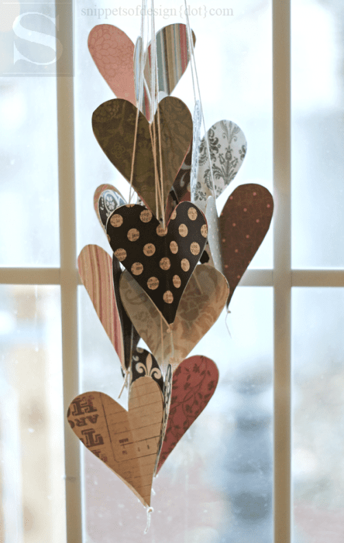 25 Easy Paper Heart Project Ideas, featured by top US craft blog, The Crafty Blog Stalker: Paper Heart Hanging Bouquet