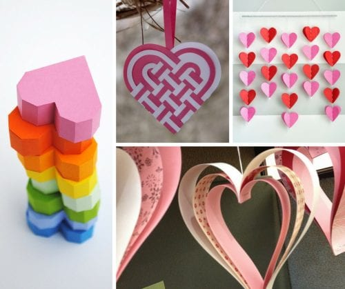 A collection of 25 paper heart projects for valentines day, weddings, or just because. A handmade heart is an easy DIY craft tutorial idea.