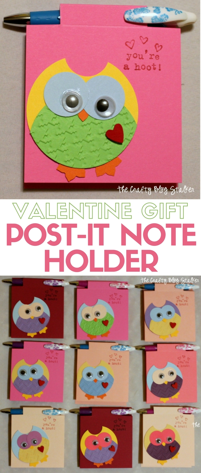 Make an easy DIY Valentine Gift Post-It Note Holder. Give as a teacher gift or to friends on Valentine's Day. A fun craft tutorial idea.