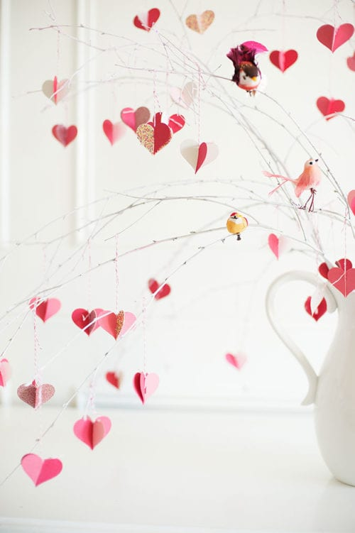 25 Easy Paper Heart Project Ideas, featured by top US craft blog, The Crafty Blog Stalker: Valentine's Day Branch