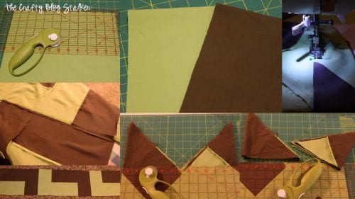 collage of step by step photos for cutting and sewing the chevron pieces into a quilt top