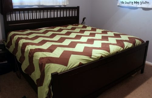 the finished chevron pattern bedding from sheets in the master bedroom