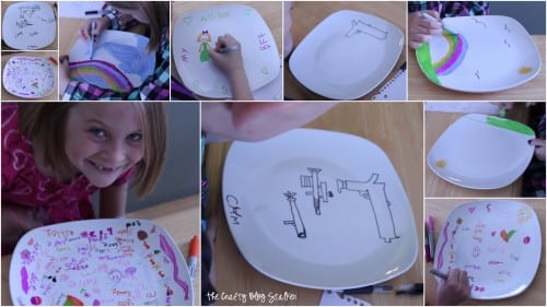 a collage of images of the kids as they color on the marker plates