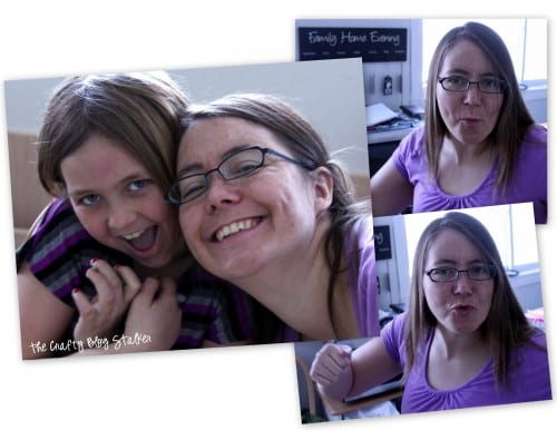 a collage of silly pictures taken of mom and daughter while crafting together
