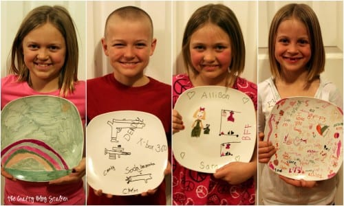 a collage with all four kids holding their marker plates after being baked in the oven and cooled