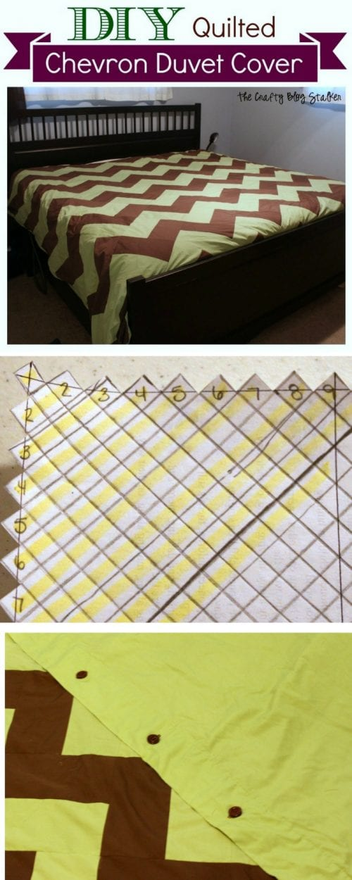 header image of DIY chevron bedding with step by step pictures of assembly