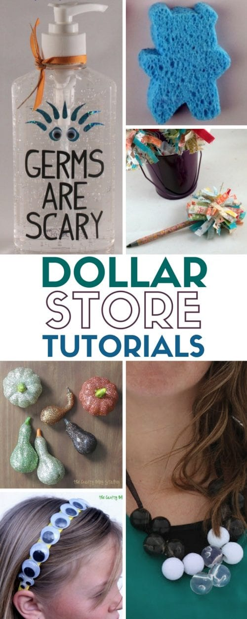 title image with a collage of craft ideas made with items bought at the dollar store