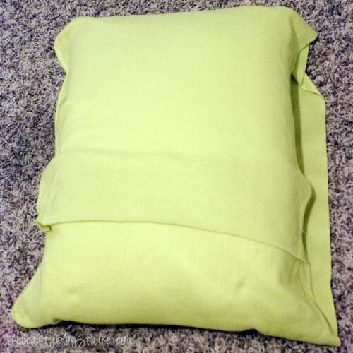 wrapping fleece fabric around a pillow